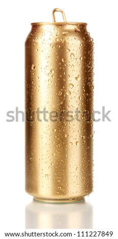 Open golden can isolated on white