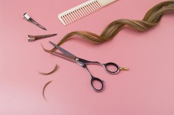Open Hairdressing Scissors With a Strand Curl Hair On A Pink  Background, Professional Shears, Clips, Comb And Cutted Hair Edges