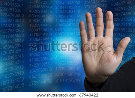 open hand in halt gesture, with data numbers in background
