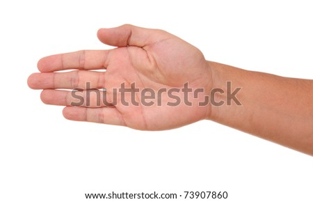 Open hand in signal clockwise orientation over white background