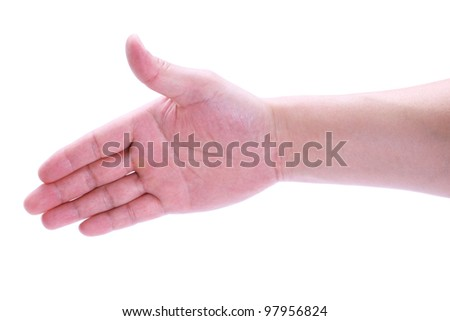 Open hand, man say hello, white isolated background. - stock photo