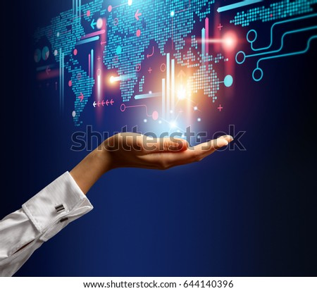 Open hand on blue background with concept illustration representing business data