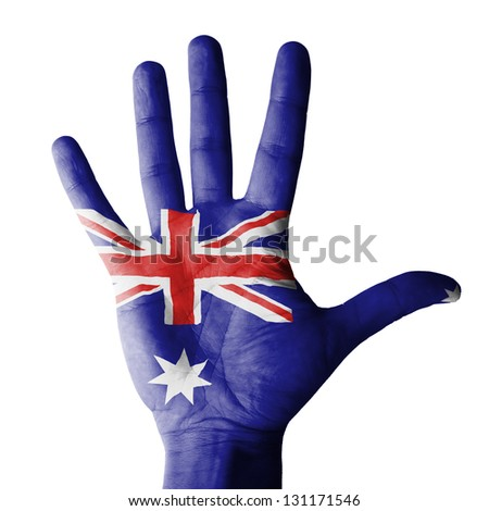 Open hand raised, multi purpose concept, Australia flag painted - isolated on white background