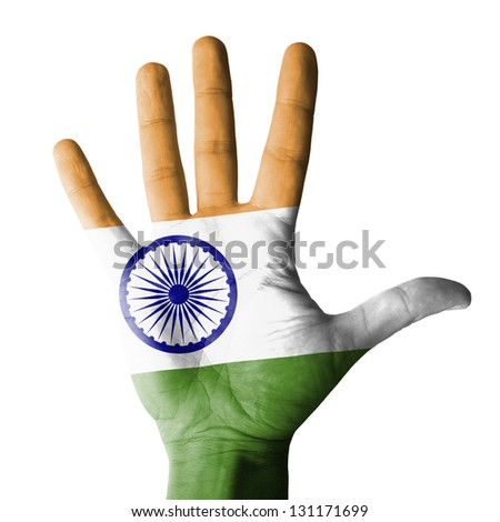 Open hand raised, multi purpose concept, India flag painted - isolated on white background