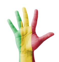 Open hand raised, multi purpose concept, Mali flag painted - isolated on white background