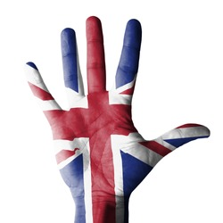 Open hand raised, multi purpose concept, UK (United Kingdom) flag painted - isolated on white background