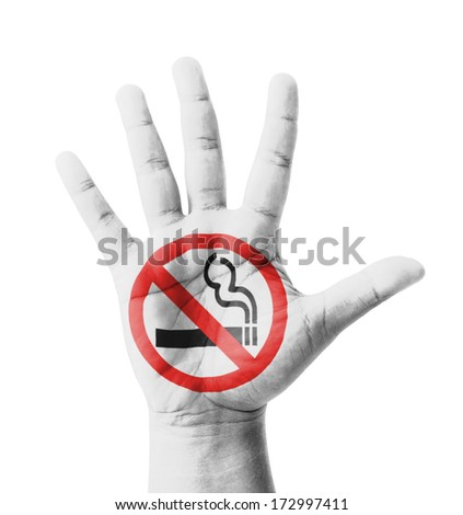 Open hand raised, No Smoking sign painted, multi purpose concept - isolated on white background #172997411