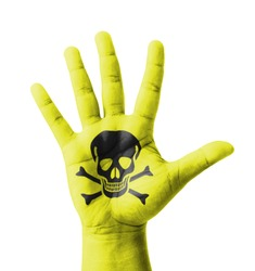 Open hand raised, Poisonous sign painted, multi purpose concept - isolated on white background