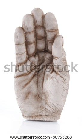 open hand statue isolated on white background
