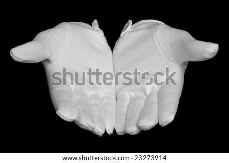 Open hands palms up in white gloves, isolated on a black background.