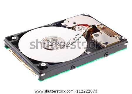 Open harddisk isolated on white background