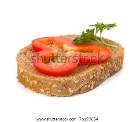 open healthy sandwich with vegetable  isolated on white background