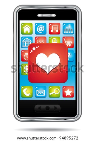 Open heart application on a a smartphone.