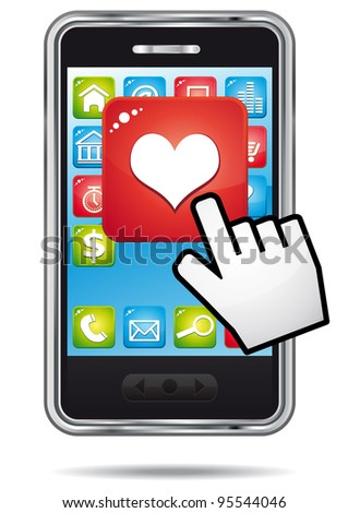 Open heart application on a a smartphone with hand cursor.