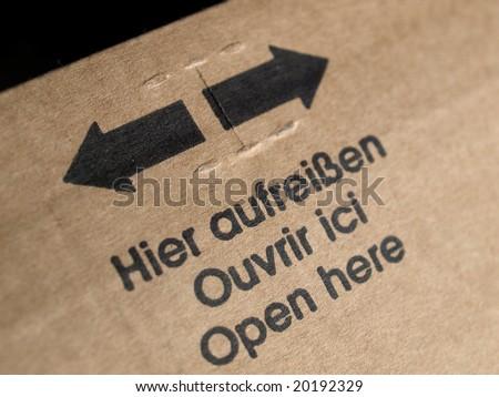 Open here written on a packet