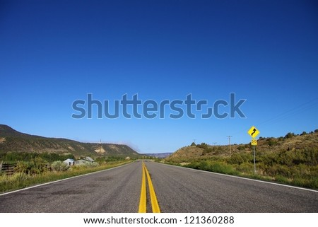 Open highway in North America on a beautiful sunny day