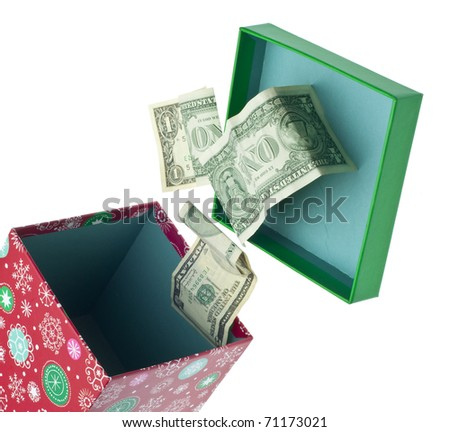 Open Holiday Box with Dollar Bills Spilling Out.  Isolated on White with a Clipping Path.