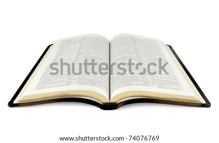 open Holy Bible isolated on white