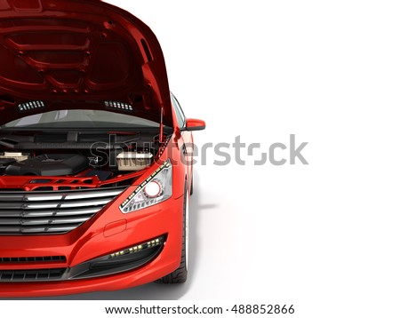 Shutterstock open hood of a car with view of the engine 3d render on white