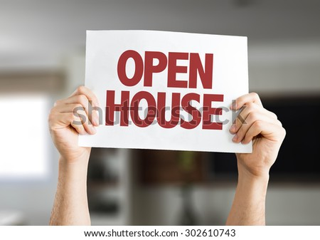 Open House card with house on background