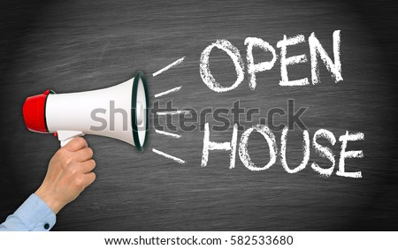 Open House - Megaphone with female hand and text on chalkboard background #582533680