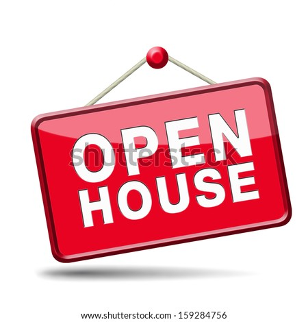 Open house sign banner or placard for renting or buying a new home visit a real estate property model house, red icon
