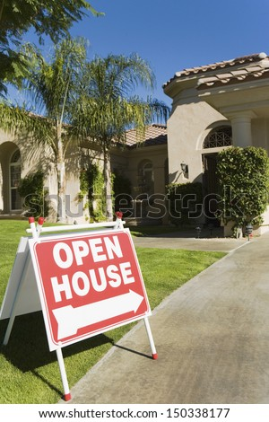Open House sign in front house
