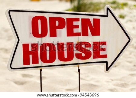 Open House Sign with blurred background