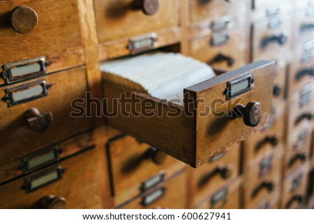 Open index drawer. Vintage file catalog box. Concept for database, archive, library