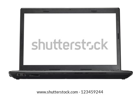 Open laptop isolated on a white background