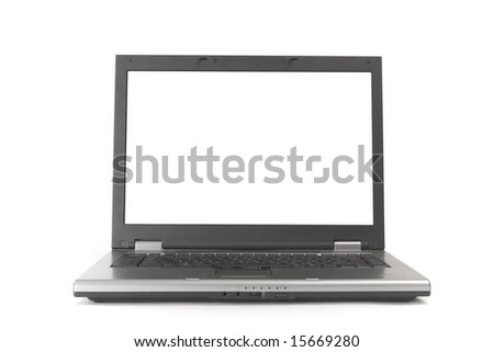 Open laptop on white ground