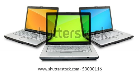 Open laptop showing keyboard and screen  isolated on white background