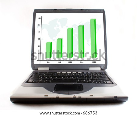 open laptop with business graph