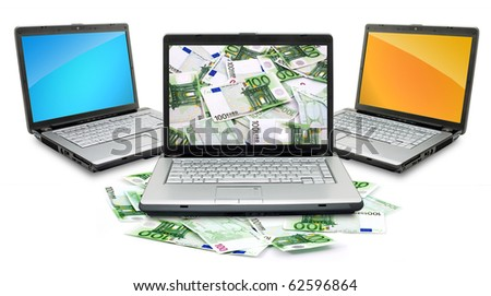 Open laptop with money  isolated on white background