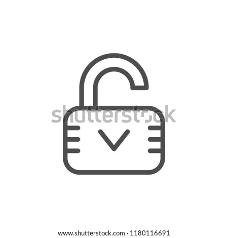 Open lock line icon isolated on white