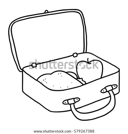 Open lunch box outline illustration