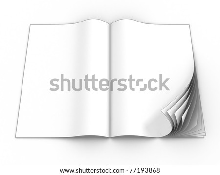 open magazine blank page template for design layout with curl pages isolated on the white background
