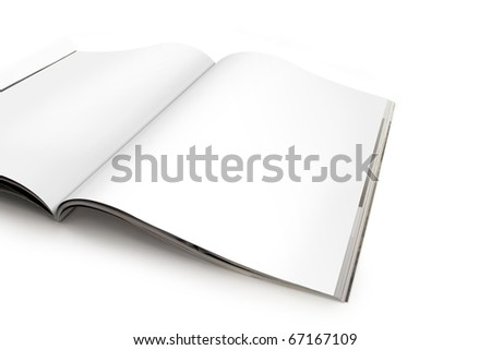 Open magazine with blank white pages isolated on white. Paths are included in the file.