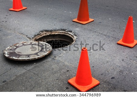 open manhole and repair of roads