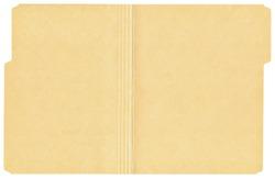 Open manila folder isolated on a white background.