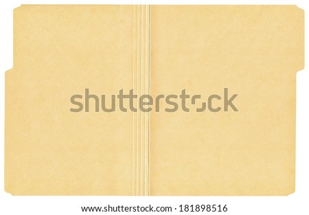 Open manila folder isolated on a white background. #181898516