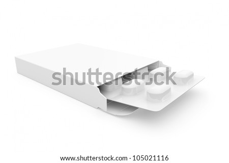 Open medicine packet with blank label opened at one end to display a blister pack of white tablets, illustration on white