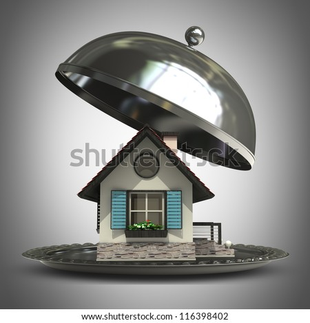open  metal silver platter or cloche with house 3d render