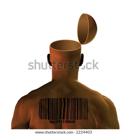 Open mind with barcoded man - stock photo