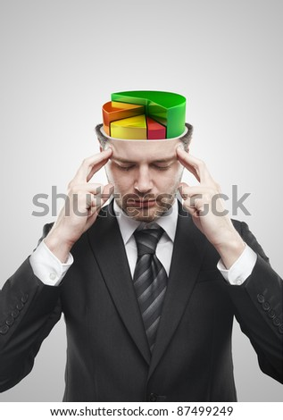 Open minded man with colorful 3d pie chart graph inside. Conceptual image of a open minded man. On a gray background