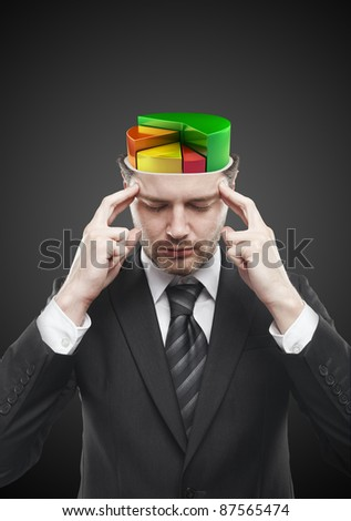 Open minded man with colorful  pie chart graph inside. Conceptual image of a open minded man. On a black background