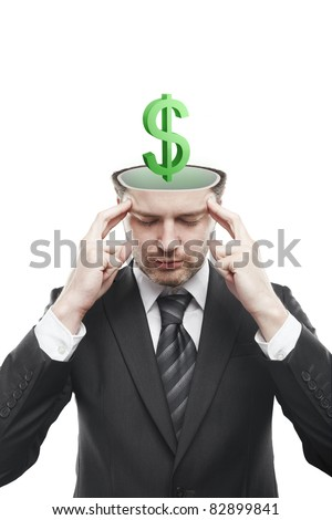 Open minded man with 3d Green Dollar Sign inside thinking about it. Conceptual image of a open minded man.