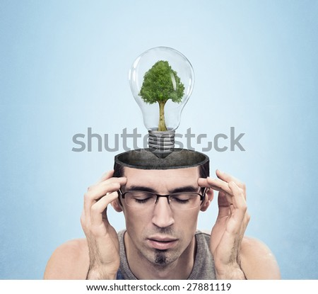 Open minded man with green energy symbol