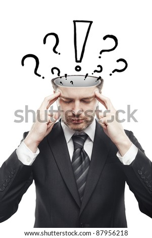 Open minded man with with exclamation mark and question marks above his head. Conceptual image of a open minded man.Isolated on a white background