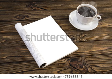 Open mock up blank catalog, magazines, books, layout on a wooden table with hot coffee. for mock-ups and simulate your design #759688843